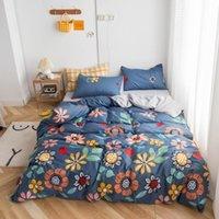 Bedding Sets 25 Duvet Cover With Pillowcase 100%Pure Cotton Floral Style Reactive Printed Blue Color Parure De Lit Bedsheet Set