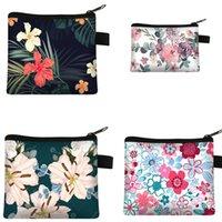 DHL100pcs Coin Purses Women Polyester Floral Prints Large Capacity Square Min Wallets Mix Color