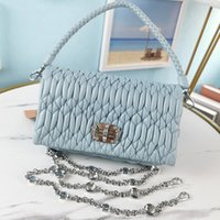 Crystal Chain Bag Handbags Purse Sheepskin Genuine Leather Shouler Bags Wrinkle Design Woven Handle Totes Fashion Letter Diamond Surface Twist Lock Top Quality