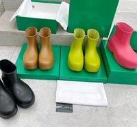 Tasarımcı Marka Yağmur Botları Kadınlar Yuvarlak Ayak Su Geçirmez Sıcak Ayak Bileği Botas Kadın Kış Şeker Renk Kar Botları Platformu Ayakkabı Kutusunda