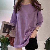 Women's T-Shirt Harajuku Women T Shirt Casual Korean Simple Soild Color Oversized Basic Tees Short Sleeve Summer Loose Shirts O Neck Tops