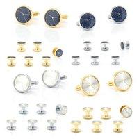 5sets lot Tuxedo Cuff Links Collar Studs 8pcs Creative Clock Cufflinks Buttons Set Mens Jewelry Accessory Whole