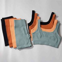 Спорт наряд для женщины бесшовные ребристые йоги набор спортивных бюстгальтер шорты тренировки тренировочный тренажерный зал Леггинсы женские нижние бельё одежда 210802
