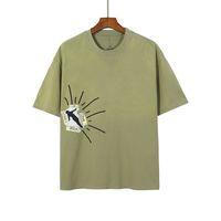 2021 USA Spring Summer Eté Cool Hommes Hommes T-shirt Femmes Puff Print Eau Lave-eau Green Coton Tee Tshirt