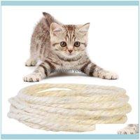 애완 동물 용품 홈 Garden3 / 5M 자연적인 Sisal 고양이 긁는 게시물 장난감 DIY 책상 발 의자 다리 바인딩 로프 드롭 배달 2021 FV6