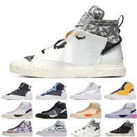 [Bilezik + Çorap + Orijinal Kutu] Sacai X Nike Blazer Mid Deconstructed Double Hook Catwalk Co-branded Trailblazer High-Top Casual Shoes Off White x Blazer Mid OW Sneakers