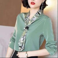 Colarinho de mangas compridas Colares impressos camisa camisa camisa feminina moda curva stitching estilo simples frouxo chiffon blusas mulheres mola