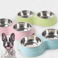Newsling Animali domestici Ciotola Multipuuropea Famina di frumento della famiglia Doppio per gatti Dogs Cucciolo di alimentatori blu / verde / rosa Ciotole per cani EWE5778