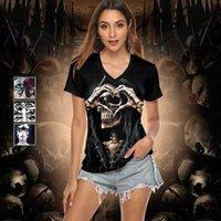 Donne T Shirt Fashion Designers Halloween 3D manica corta Stampa digitale Skull Personalità Style Tees Polosa Cooling Leggings e Abiti