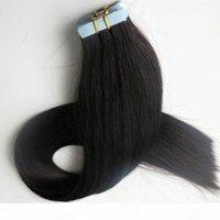 최고 품질 100G 40pcs 접착제 피부 위사 머리카락 확장 브라질 인도 인간의 머리카락 18 20 22 24inch # 1b 블랙