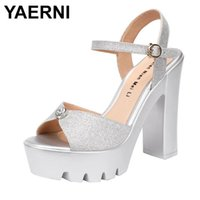 13cm High Heel Sandals Women 2021 Summer Thick Platform Anti...