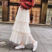 Skirts Womens Long Tulle Midi 2021 Spring Summer High Waist Mesh Tutu Pleated Female Black White Streetwear