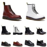 Herren Damen Dr Martin Boots Designer Luxus Leder Winterschuhe Schwarz Weiß Herren Samtstiefel