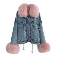 Deconstrutable fengguilai coelho peles inner desgastar raposa cowboy parka casaco curto inverno novo estilo moda