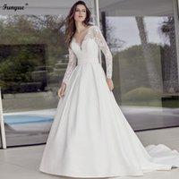 Other Wedding Dresses Elegant V-Neck Bridal Dress Long Sleeve Lace Satin A-Line Robe De Mariée Backless Sexy Bride For Women 2021