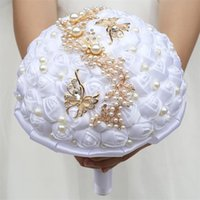 Wedding Flowers Handmade Gold Crystal Brooch Bouquets For Bride Bridesmaid Ribbons Artificial Roses Pearl Bouquet Bridal