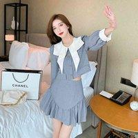 Two Piece Dress Korean autumn sweet fashion two female ensemble pieces....top of harvest short jacket + siren skirt.....define small dress sets SK42