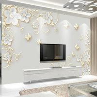 Wallpapers Custom Mural 3D Embossed Butterfly European Flower Pattern Po Living Room TV Sofa Backdrop Self Adhesive Wallpaper Waterproof