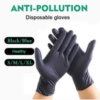 50 100pcs Blue BLACK Disposable Latex Gloves for Household Food Grade Safety Gloves Cleaning Kitchen Oil Guantes De Trabajo Y0910