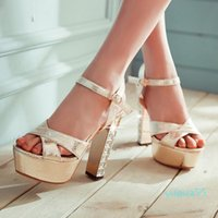 Big Small Size 31 32 To 42 glitter sequiend silver gold chunky High heels bridal wedding shoes 81550