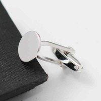 BeadSnice Gepersonaliseerde Blanks Solid Sterling Zilveren Mannen Manchetknoop Basis met 10mm Platte Pad Groomsmen Gift ID39486