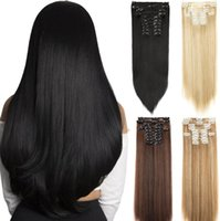 Synthetic Wigs 7Pcs Set 22inch 16 Clips Long Straight Hair In High Temperature Fiber Black Brown Hairpiece