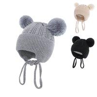 Baby Hats Newborn Caps Toddler Earmuffs Hat Cute Girls Boys Infant Cap Autumn Winter Warm Wool Knitted Beanie Accessories Velvet 0-1T B8723