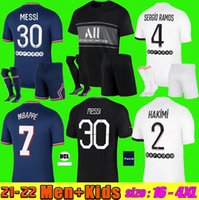 Мужчины + Kids Kit 21 22 Messi MBappe Soccer Technys 2022 Di Maria Wijnaldum Sergio Ramos Hakimi Away Maillots de Football Icardi Verratti Третья рубашка Фаната игрок S-4XL