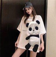 Women's Hoodies & Sweatshirts Camiseta estampada feminina de panda branca, camiseta casual manga curta tamanho médio com senho elefante para o verão, U9KI