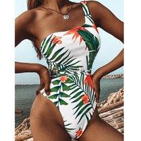 Women's Swimwear Drop Green Leaf One Piece Sexy Push Up Unpadded Brazilian Bikini Set Women Bandage Swimsuit Bathing