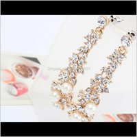 Charm Jewelryeuropean American Boutique Ladies Pearl Earrings Women Long Golden Earring 10Prs Diamond Stud Ps2883 Drop Delivery 2021 Rgn0V