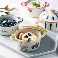 Ceramic hand-painted steamed egg baby food underglaze color microwave oven small with cover shuflei pudding bowl