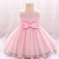 Girl's Dresses 2021 Todder Baby Girl Summer Clothes Love Sequin Bow 1st Year Birthday Party Dress Children Christmas Wedding