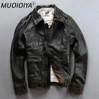 Cuir pour homme Faux AVFLY 2021 Hommes Vintage Moto Noire Veste Fashion First Couche Vache Versa Course Viker Russie Winter manteau