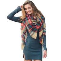 Xadrez colorido feita malha cashmere como grande lenço quadrado, elegante e quente dupla finalidade xaile lenço