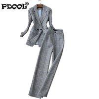 Женская решетка деловой костюм мода брюки женская карьера куртка повседневная двухсектура брюкнат для женщин костюм костюм femme две части