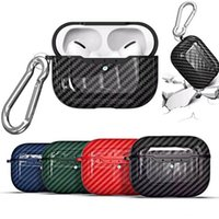 Luxury Carbon Fiber Pattern Earphone Cases For Apple AirPods Pro Bluetooth Wireless Charger Box PC Shockproof Protection Cover