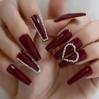 False Nails Extra Long 3D Luxury Holo Rhinestone Press On Fake Nail Tips Heart Shape Red Coffin Square Ballet Full Cover French