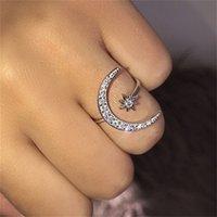 Crescent Ring мода звезда и луна кольца национальная звезда ветер и индекс луны пальца открытое кольцо 966 Q2