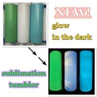 Sublimation gerade Tumbler leerer Glühen im dunklen Tumbler 20z mit leuchtender Farbe Lumineszent staliness stahl Tumblers Magic Travel Cup FY4467
