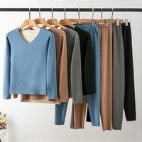 Men's Thermal Underwear Women Men Winter Pajamas Set Warm Fleece Thicken Sleepwear Long Johns Cotton Breathable Plus Size