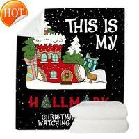 130 * 150 سنتيمتر تصميم بطانية عيد الميلاد الطباعة الرقمية المرجان الصوف طبقات مزدوجة لحاف مرح عيد الميلاد أريكة رمي OOA9015 RSEU