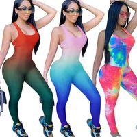 Kadın Tulumlar Tulum Rahat Baskı Bodycon Kolsuz Sportif Egzersiz Aktif Aşınma Skinny 2021 Yaz Bayan Tulum Afrika Moda