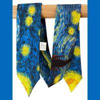 Lenços 100% puro lenço magro de seda por atacado gravata para mulheres saco de luxo decoração fita a granel feminino long estreita gravata estrelado noite