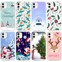 Santa Christmas Mobile Cell Phone Cases Tpu Transparent Case For Iphone 13 12 11 Pro Max Mini X Xr Xs 7 8 Plus Soft Clear Cover