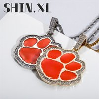 Cute Animal Foot Pendant Necklace Brass Gold Plated Iced Out Zircon Mens Hip Hop Jewelry Gift