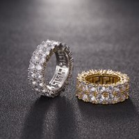 Hip Hop Iced Out Ring Micro Pave CZ Stone Tennis Rings Men Women Charm Luxury Jewelry Crystal Zircon Diamond Gold Silver Plated Wedding
