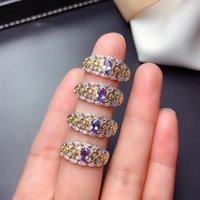 Cluster Rings MDINA Natural Tanzanite Ring S925 Sterling Silver Retro Hollow Lady Fashion High-end Gemstone Jewelry