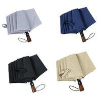 Umbrellas G32F 10 Ribs Windproof Automatic Folding Umbrella With Wooden Handle Men Business Sun UV Rain Protection Outdoor Portable Auto