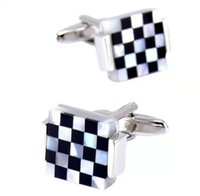 Luxury Square Cuff links for Mens French Shirt High Quality Black White Shell Cufflinks Wedding Grooms Gift Man Jewelry